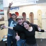 Jeremy Jones and Chad Perrin from Jones Snowboards and Becca from Spark just being dorks