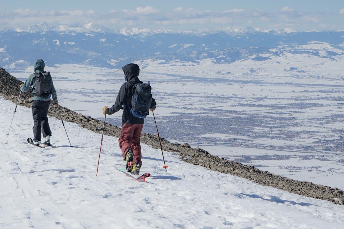 GNFAC avalanche forecasters walking on ridge