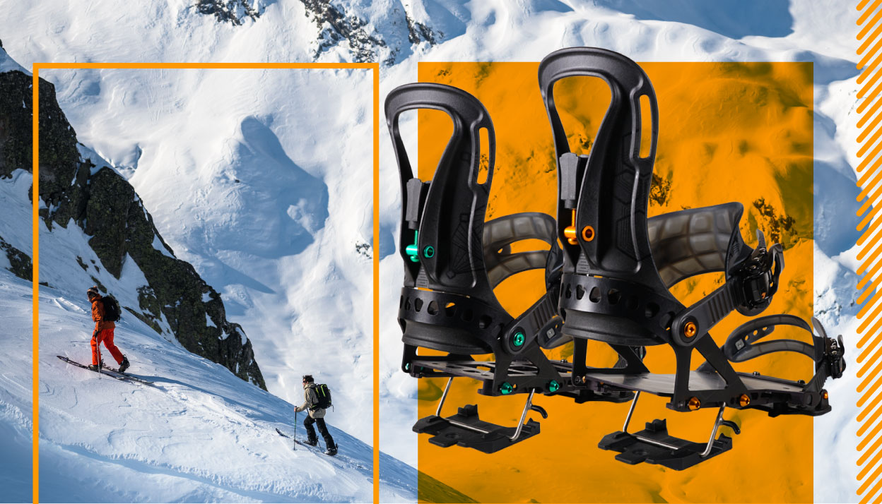 pro series splitboard bindings slider image with luca pandolfi and thomas delfino